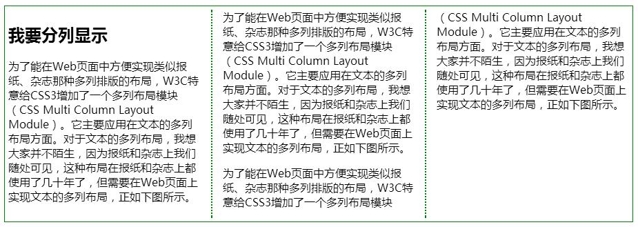 CSS3 列表边框column-rule