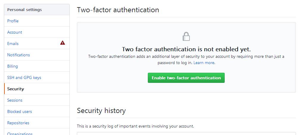 Security 标签页中的 2FA