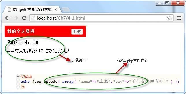 使用get()方法以GET方式从服务器获取数据
