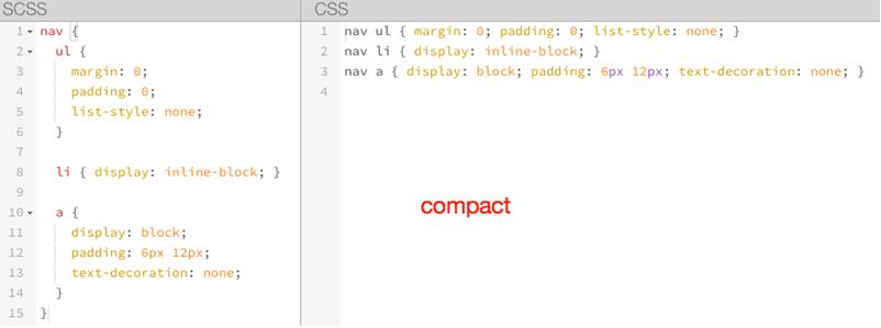 [Sass]紧凑输出方式 compact